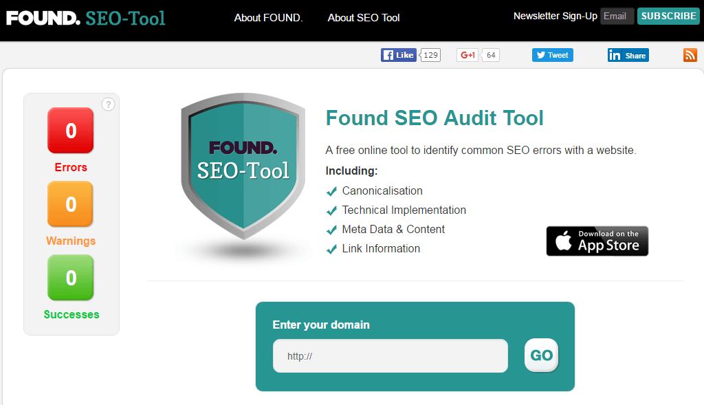 seo analytics-Found SEO Audit Tool