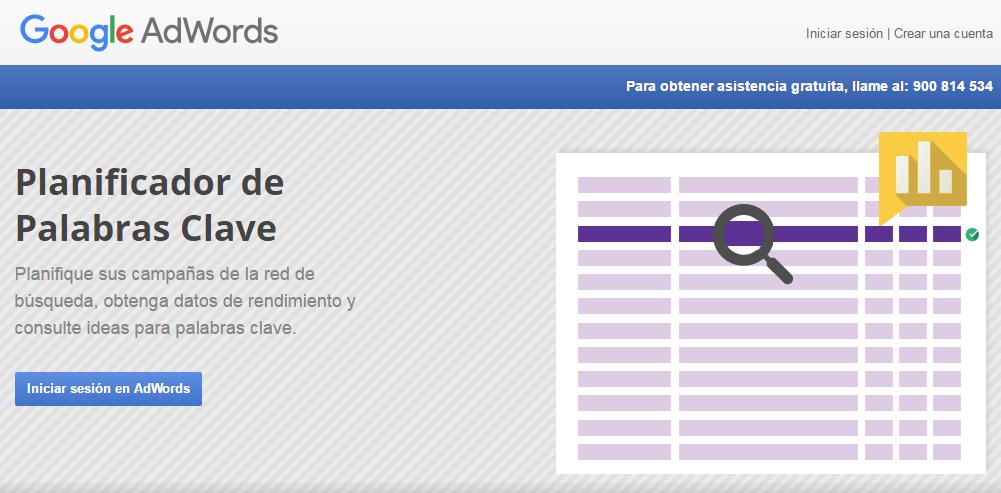 análisis de palabras clave-KeywordPlanner