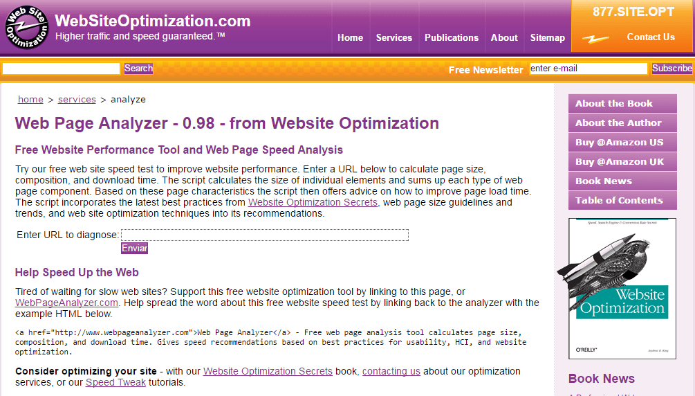 test de velocidad con WebsiteOptimization