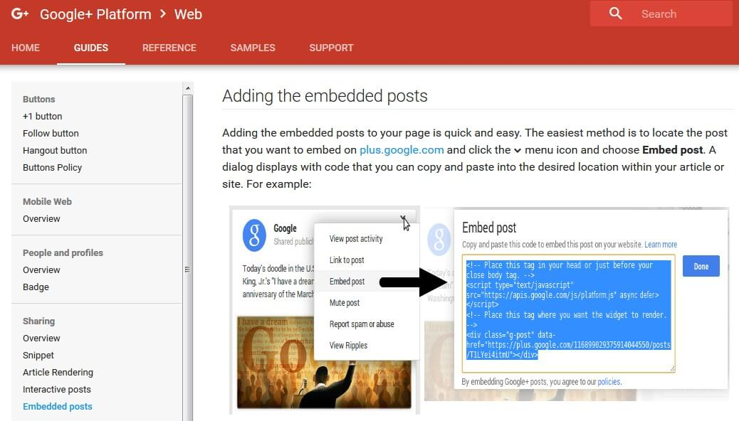 google plus - embedded posts