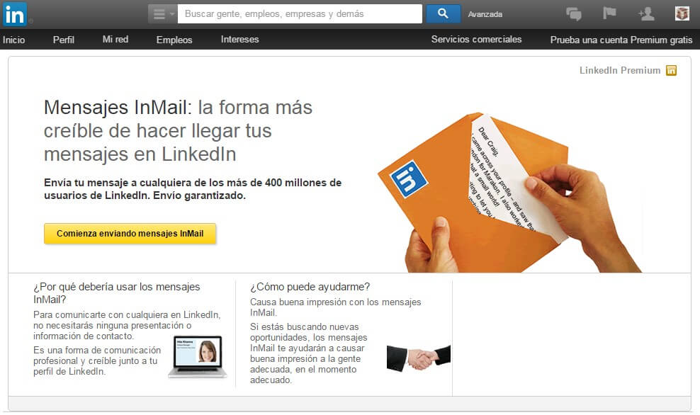 Linkedin empresas-Linkedin inmail