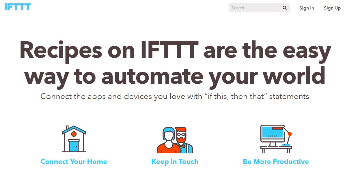 página de inicio IFTTT