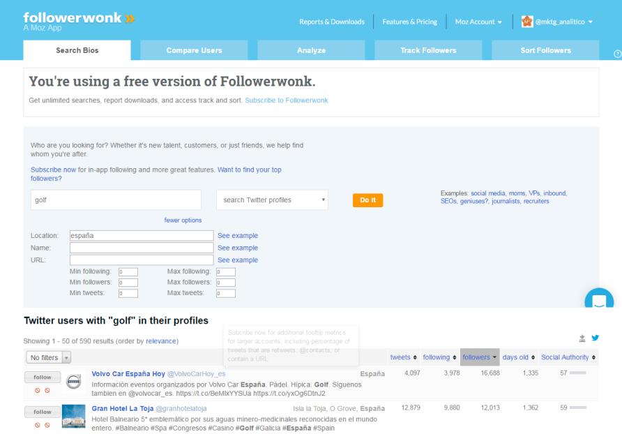 Guía Followerwonk 2016 más y mejores seguidores en Twitter