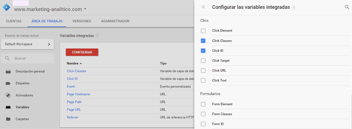 Google Tag Manager enlaces internos