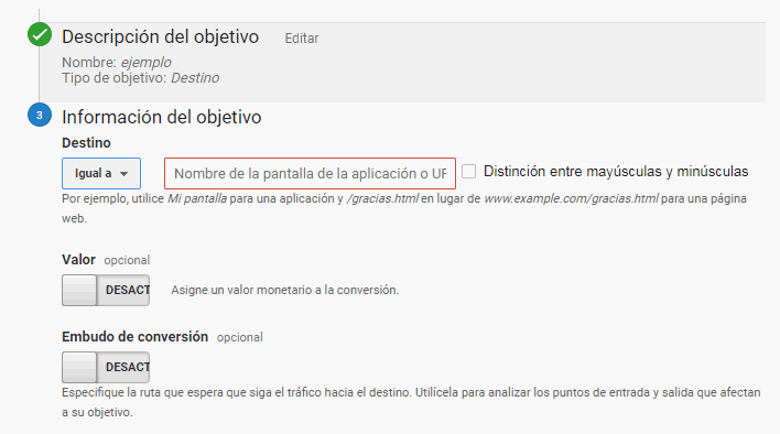 objetivo destino en Google Analytics