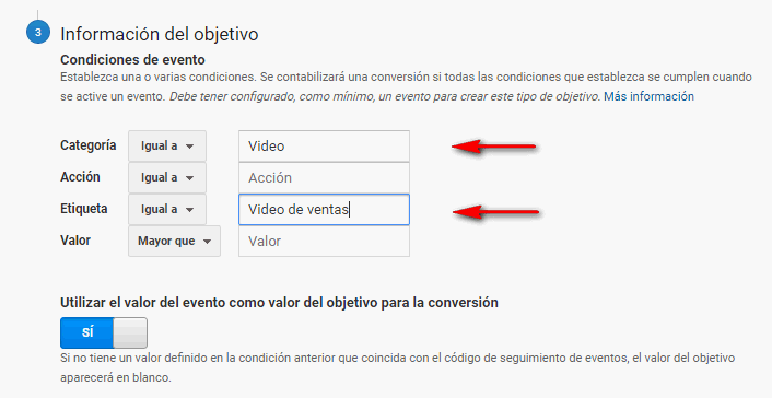 objetivo evento en Google Analytics