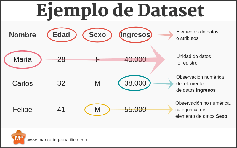 tipos de variables: datasets